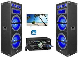 """2) Technical Pro Dual 15"""" 1800w LED Home Theater Speakers+DV"""