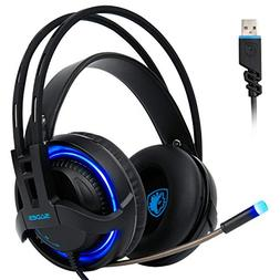 , Gaming Headsets Headphones 7.1 Channel Virtual USB Surroun