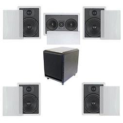 5.1 Home Theater Flush Inwall Speaker Package with Amplified
