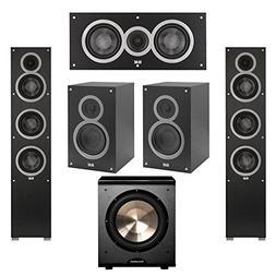 Elac 5.1 System with 2 Debut F5 Floorstanding Speakers, 1 De