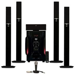 Acoustic Audio AAT1003 Tower 5.1 Speaker System with Mic and