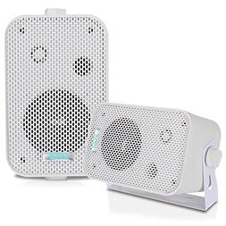 2Pc Outdoor Weatherproof Speaker System - 3.5 Inch Dual Wate