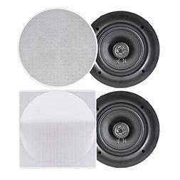 """8.0"""" Ceiling Wall Mount Speakers - Pair of 2-Way Full Rang"""