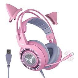 SOMIC G951pink Gaming Headset for PC, PS4, Laptop: 7.1 Virtu