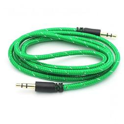 Green Braided Aux Cable Car Stereo Wire Audio Speaker Cord 3