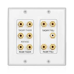 TNP Home Theater Wall Plate - 2-Gang 5.1 Surround Sound Audi