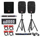 """Rockville 12"""" 1200W DJ PA Speakers+Sub+Stands+Crossover+Pow"""