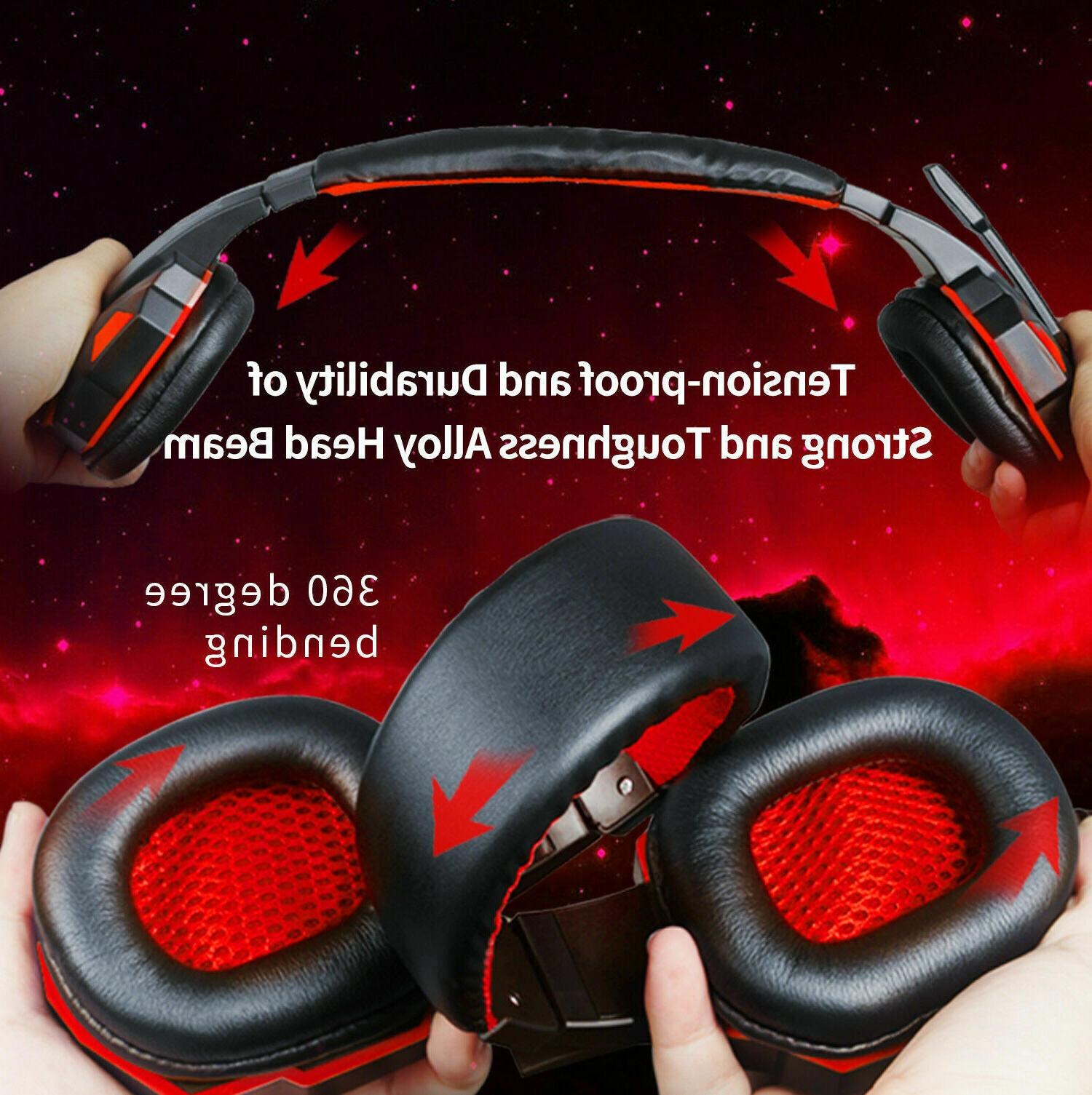 3.5mm LED Headphones Stereo Bass Surround PC Xbox One