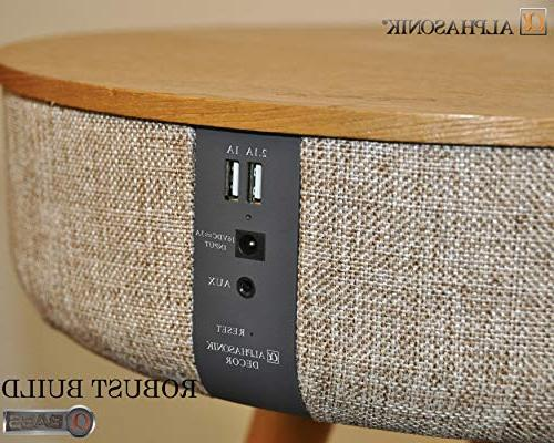 Alphasonik Modern Home Surround HD Sound with 10 Speakers Qi USB AUX Table Coffee Stand MAPLE