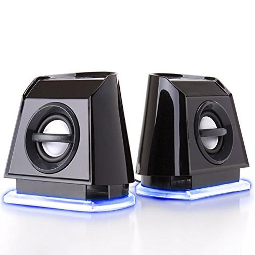 GOgroove 2MX LED Computer Speakers with Powered Subwoofer, B