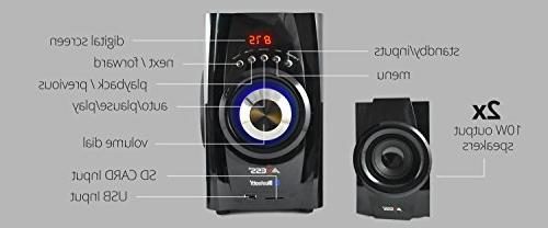 AXESS 2.1-Channel Home Theater Speaker System Red