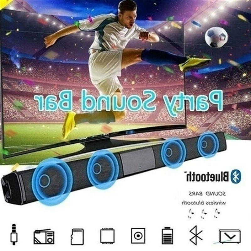 Portable Sound Bar 4 Speaker System Wireless Subwoofer TV