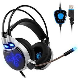 Sades R8 PC Gaming Headset Stereo 7.1 Surround Sound USB Wir
