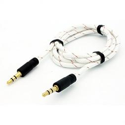 White Braided Car Audio Stereo Auxiliary Aux Cable for iPhon